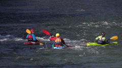 Canoes training on the rushing river Dunajec, Poland Stock Footage