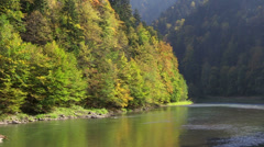 Rafting on Dunajec River, Pieniny National Park, Poland Stock Footage