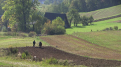 Agriculture, farmer plows the field using a simple plow Stock Footage