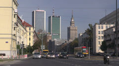 Warsaw, one of the main streets in the city center, Poland Stock Footage