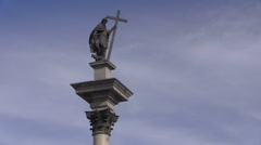 Warsaw, King Sigismund Column on the Castle Square, Old Town, Poland Stock Footage
