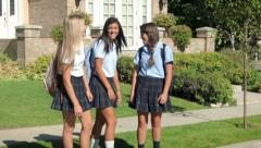 Three Pretty Uniformed Teen School Girls, Standing, Sitting & Chatting Stock Footage