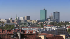 Warsaw, panoramic view to The Castle Square on the Old Town, Poland Stock Footage