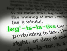 Stock Media - Dictionary - Legislative - Green On White - stock photo