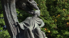 Chopin monument in Lazienki Park, Warsaw, Poland Stock Footage