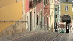 Lisbon Tram, Elevador da Bica, Portugal Stock Footage