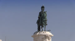 Lisbon, Commerce Square (Praca do Comercio), Monument of King Jose I, Portugal - stock footage