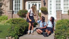 Three Pretty Uniformed Teen School Girls, Sitting & Chatting Stock Footage