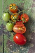 Viipaloidut ja wholered luumu tomaatit (Solanum lycopersicum) vihreä puu, studio Kuvituskuvat