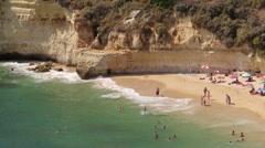 Algarve, beach in Carvoeiro village, Portugal Stock Footage