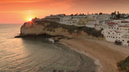 Stock Video Footage of Algarve coast at sunset, Carvoeiro village, Portugal