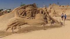 "Sand sculptures at ""Sand City 2013"", Pera, Algarve, Portugal Stock Footage"