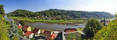 Germany, Saxony, Stadt Wehlen, Townscape with River Elbe and Poetzscha - stock photo