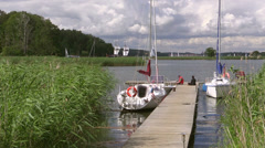 Sailing boat, Masuria Lakes, Poland Stock Footage
