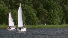 Sailing boat at the Sniardwy lake, Masuria, Poland Stock Footage