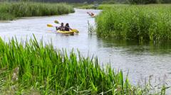 Canoe rafting, Masuria, Czarna Hancza River, Masuria Region, Poland Stock Footage