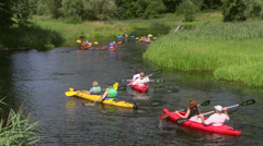 Canoe rafting, Masuria, Czarna Hancza River, Masuria Region, Poland - stock footage
