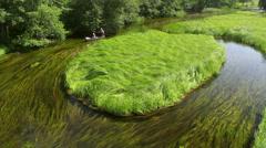 Kayaking at the Masuria, Czarna Hancza River, Masuria Region, Poland Stock Footage
