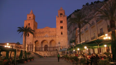 Cefalu Cathedral at evening time, Cefalu old town, Sicily, Italy Stock Footage