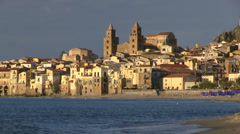 Cefalu, Old town and Cathedral, Duomo, Cefalu, Sicily, Italy Stock Footage