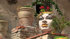 Sicilian ceramics as decoration in Old Town Taormina, Sicily, Italy Stock Footage