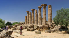 Valley of Temples, Temple of Hercules, Agrigento, Sicily, Italy Stock Footage
