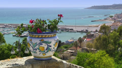 Sicilian ceramics as decoration in Old Town Sciacca, Sicily, Italy Stock Footage