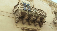 Details of balcony, Palazzo Villadorata, Noto, Sicily, Italy Stock Footage