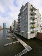 Germany, Hesse, Frankfurt, Modern luxury apartments at Westhafen Stock Photos
