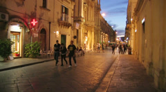 Noto, Old Town, main street of the Noto Old Town, Sicily, Italy Stock Footage