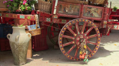Decorated cart, traditional Sicilian rural horse-drawn carriage, Sicily, Italy Stock Footage