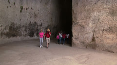 Inside the Ear of Dionysus, Orecchio di Dionisio, Siracusa, Sicily, Italy Stock Footage