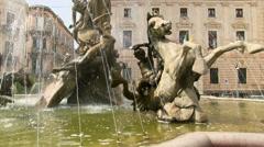 Diana fountain (Fontana di Diana), Ortigia, Siracusa, Sicily, Italy, Stock Footage