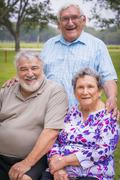 USA, Texas, Group foto of senior citizens at reunion meeting - stock photo