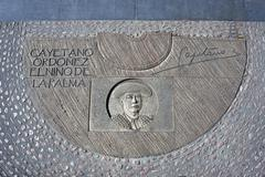 engraving above cement in honor of the spanish bullfighter cayetano ordóñez - stock photo
