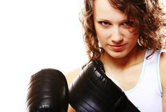 fit woman boxing - isolated over white - stock photo