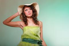 Stock Photo of beautiful spring woman portrait. green concept