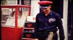 Professional gasoline attendants helps customers, 643 vintage film home movie Stock Footage