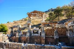 Fountain of emperor trajan in ephesus, turkey Stock Photos