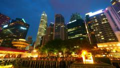 Singapore at night, timelapse in motion Stock Footage
