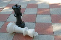 White king in checkmate from black queen Stock Photos