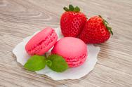 Stock Photo of strawberry  macaroons