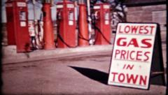 634 - gas station in the 1940's  - vintage film home movie Stock Footage