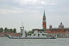 ship to transport cars on sea near venice - stock photo
