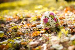 wedding bouquet in autumn - stock photo