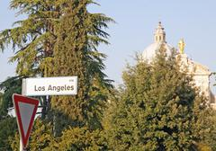 Directions street los angeles to reach the church of santa maria degli angeli Stock Photos