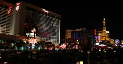 Ultra HD 4K Las Vegas Strip Flamingo Eiffel Tower Paris Hotel Nightlife Traffic Stock Footage