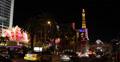 Ultra HD 4K UHD Las Vegas Strip Boulevard Eiffel Tower Paris Hotel Nightlife Footage