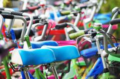 Colorful bicycles Stock Photos