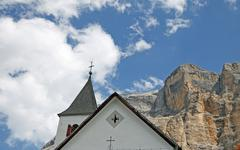 church in the foothills of the dolomites in italy - stock photo